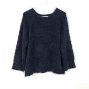 Lou & Grey Eyelash Sweater Fuzzy Navy Blue Medium